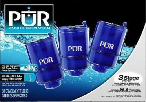 3 replaceable filters of pur 3 stage water filtration system