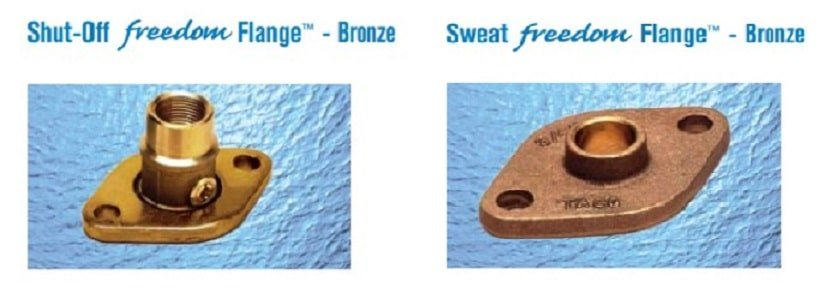 shut-off and sweat freedom flanges - bronze