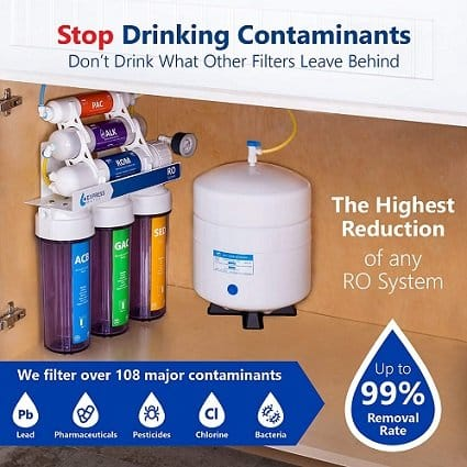 Express Water 10 Stage RO Water Filter - contamiants filtered